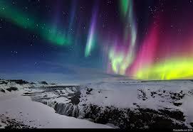 aurora borealis northern lights iceland aurora borealis northern lights gullfoss waterfall winter