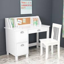 Desks With Drawers On Both Sides Amazon Com Kidkraft Kids Study Desk With Chair White Toys U0026 Games