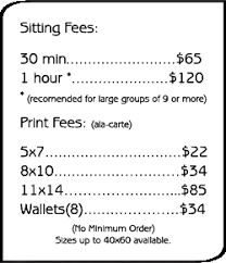 photographer prices legacy design photographers price list