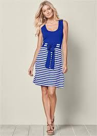 casual dress tie waist casual dress in blue venus