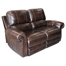 Reclining Loveseats Abbyson Rio Hand Rubbed Leather Power Reclining Loveseat Brown