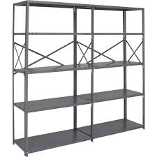 Lowes Metal Shelving Furniture Strong Gray Edsal Shelving Made Of Steel For Garage