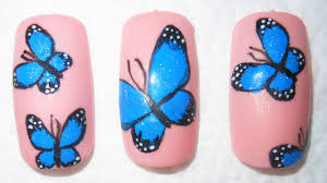 beautiful blue butterfly nail design step by step youtube
