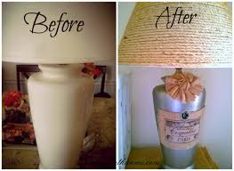 shabby chic lamp makeover using sisal burlap and paint diy