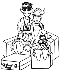 vacation coloring page family coloring page