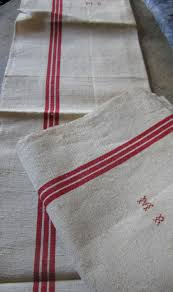french linen cloth w tripple red stripe towel ecru linen dish