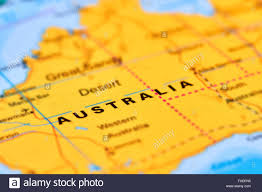 Australian World Map by Australia Continent And Country On The World Map Stock Photo