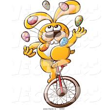 vector of a cartoon easter bunny juggling colorful eggs while
