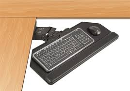Corner Desk Keyboard Tray 90 Degree Corner Cut Keyboard Tray With Articulating Arm By Esi