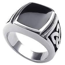 mens stainless steel rings konov mens stainless steel ring celtic knot signet black