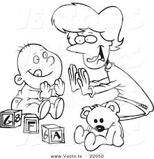vector of a cartoon mom playing patty cake with her baby
