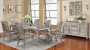 Dining Room Set Danette Metallic Platinum Rectangular Dining Room Set From Coaster