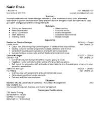 Food Service Job Resume by Restaurant Manager Job Description Assistant Manager Resume