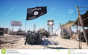 isis flag on terrorist base headquarters desert landscape