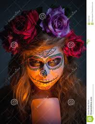 halloween witch beautiful woman wearing santa muerte mask portr