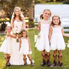 Flower Girls Dress Shoes - 2017 new cheap toddler cute white ivory flower girls dresses crew