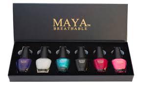 maya gift set 6 piece halal breathable nail polish with