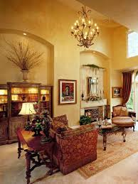 tuscan living room with decorative furniture and mirror over