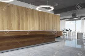 Standing Reception Desk Wooden Reception Desk Is Standing In A Modern Office With A