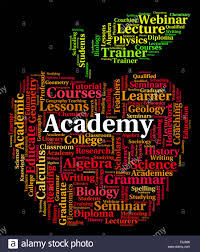 academy word meaning college schools and text stock photo royalty