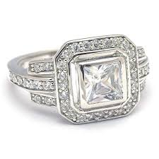 silver rings vintage images Vintage style princess cut cubic zirconia engagement ring jpg