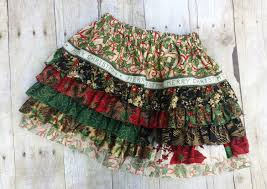 Shabby Chic Skirts by Girls Christmas Ruffle Skirt Size 4 Ready To Ship Girls