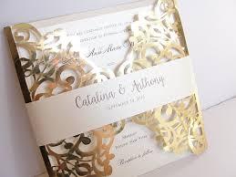 gold foil wedding invitations gold foil pink laser cut wedding invitation