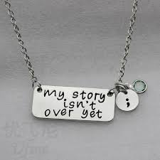 inspirational jewelry gifts birth my story isn t yet semicolon necklace inspirational