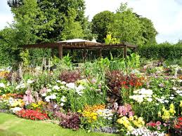 attractive picture of garden landscaping decoration using colorful