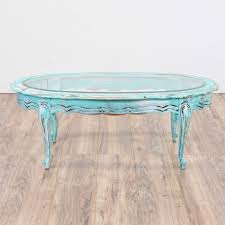 light blue shabby chic oval coffee table loveseat vintage
