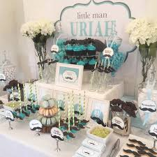 Aqua Table L Moustache Baby Shower In Blue And Green Buffets L Sweetie