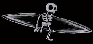 skeleton with a surfboard bluebison net
