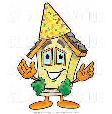 avenue clipart of a home mascot cartoon character wearing a