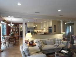 Open Kitchen Family Room Floor Plans Half Wall Between Kitchen And Familyroom For The Home