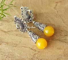 earrings online india yellow gemstone drop beaded earrings online in india azilaa