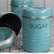 Funky Kitchen Canisters Tea Coffee Sugar Canister Set Blue Vintage Style Kitchen Jars