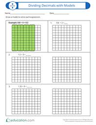 dividing decimals with models worksheet education com
