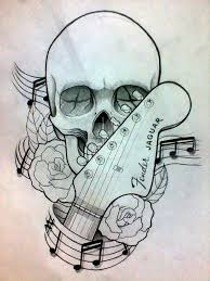 guitar hand stock with skull and roses tattoo design by pato