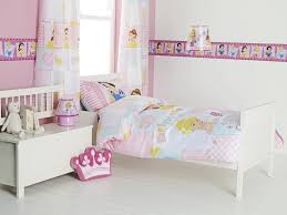 Little Girls Bedroom Curtains Bedroom With Disney Princess Bedding And Pastel Wall Colors