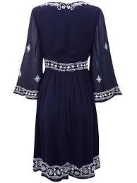 monsoon dress monsoon navy cristobel embellished 3 4 length sleeve dress org