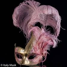 pink masquerade masks italian feather mask colombina ciuffo cigno gold pink
