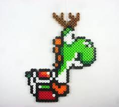 mario world yoshi perler bead pixel ornament