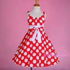 polka dot cotton empire waist spring summer dress red white