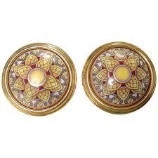 gold earrings in shape vintage hermes shape cloisonne enamel golden earrings with