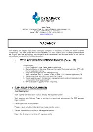 Abap Developer Cover Letter Application Letter Web Programmer
