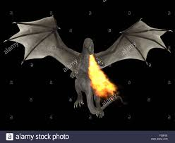 a fierce dragon with huge teeth and claws breathes fire as a