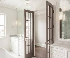 Interior Bathroom Door Gray Bathroom Doors With Polished Nickel Door Knobs