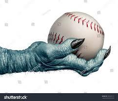halloween baseball autumn ball concept creepy stock illustration