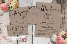 Kraft Paper Wedding Invitations Printable Wedding Invitation Rustic Wedding Invitations Kraft