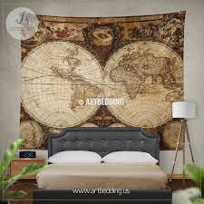 Vintage world map wall tapestry vintage world map wall hanging
